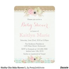 Shabby Chic Baby Shower Invitation This beautiful Shabby Chic inspired invitation is perfect for any baby shower. Featuring soft, muted tones and stunning watercolor flowers your guests will be delighted to receive this invite!