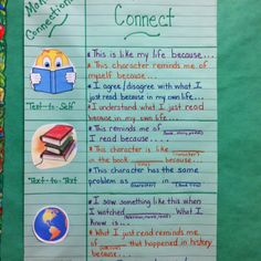 Making connections anchor chart. I used it as a model to make a portable anchor chart for my students' notebooks.