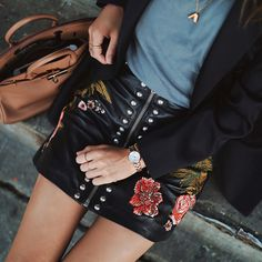 Skirt: tumblr leather leather black embroidered embroidered zip zipped watch top grey top bag brown