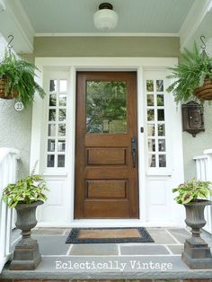 Beautiful Farmhouse Front Door Entrance Decor And Design Ideas 01 Front Door Entrance, Entrance Decor, Glass Front Door, Front Entrances, Entry Doors, Wood Front Doors, Entryway, Front Door Side Windows, Stained Front Door