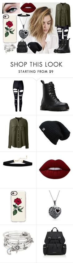 """Looking Cute AF"" by bella-inator on Polyvore featuring WithChic, Dr. Martens, Lands' End, Lime Crime, Casetify, Bling Jewelry, Alex and Ani and Burberry"