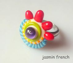jasmin french ' DROP ' mini ringtop lampwork bead ooak