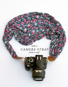 so cute! how to make a camera strap from a scarf