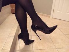 Head over Heels - Christian Louboutin. Getting ready to go to work. Sexy High Heels, Beautiful High Heels, Sexy Legs And Heels, Tights And Heels, Pantyhose Heels, Stockings Heels, Shoes Heels, Stilettos, Stiletto Heels
