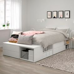 Buy IKEA PLATSA Bed Frame With 4 Drawers White, Fonnes. PLATSA bed covers your sleep and storage needs helping you create your own oasis in the smallest of places. Together with PLATSA system you can have both a space for privacy and a home Bed Frame With Storage, Bed Storage, Bed Frame With Drawers, Double Bed With Storage, Ikea Beds With Storage, Best Storage Beds, Ikea Bedroom Storage, Small Double Beds, Queen Beds With Storage