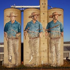 "Fintan Magee, ""The Water Diviner"" in Barraba, Australia, 2019 Murals Street Art, Graffiti Murals, Art Mural, Street Art Graffiti, Banksy, Art Du Monde, Pavement Art, Urban Painting, Barn Art"