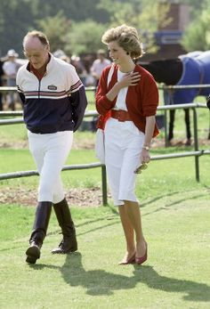 May 29, 1985: Princess Diana with Major Ronald Ferguson (father of Sarah Ferguson) at the Guards Polo Club on Smiths Lawn in Windsor, Berkshire. (Photo by Tim Graham/Getty Images)