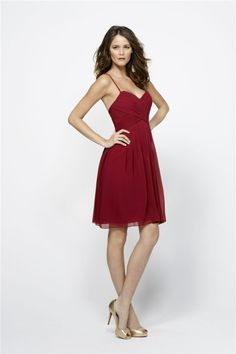 A Line Sweetheart Spaghetti Straps Short Burgundy Chiffon Party Bridesmaid Dress
