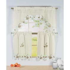 Window Elements Semi-Opaque Coffee Talk Embroidered 3-Piece Kitchen Curtain Tier and Valance Set, Brown