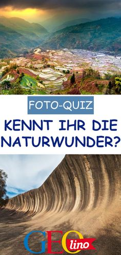 Wir zeigen euch die Fotos von 11 Naturwundern. Erkennt ihr alle im Foto-Quiz? #quiz #spielen #kinderquiz #bilderquiz #fotoquiz #geografie #naturwunder Pictures, Geography, Natural Wonders, Board Games, Playing Games, Landscape, Viajes, Tips