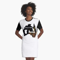 'Pray for Australia' Graphic T-Shirt Dress by Biryani, I Dress, Shirt Dress, Cheap T Shirts, Pray, Cool Outfits, Printed, Awesome, Casual