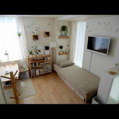 ponsukeさんの、部屋全体,観葉植物,無印良品,ナチュラル,ワンルーム,一人暮らし,カフェ風,北欧,シンプル,フェイクグリーン,のお部屋写真