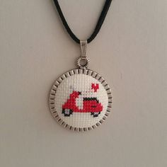 Cross stitch Necklace Cross stitch Pendant Vespa Cross