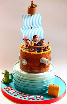 Jake and the Neverland Pirate Cake | All figurines are toys … | Flickr