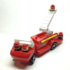 Little Tikes Fire Truck & 4 Men Chunky People VINTAGE 80 s Toy VGC Rare Red Car