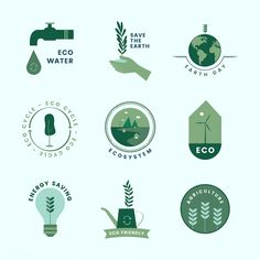 Set of organic and go green icons Vector Badge Design, Icon Design, Logo Design, Sustainable Design, Sustainable Fashion, Sustainable Living, Go Green, Green And Grey, World Icon