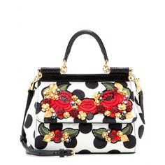 Dolce & Gabbana - Mini Miss Sicily brocade embellished tote - The 'Mini Miss Sicily' is at the top of our wish list this season. Dolce & Gabbana's covetable design is reinvented in polka-dot brocade with opulent floral embellishment. Highlight the monochrome shades and team will all black or white. seen @ www.mytheresa.com
