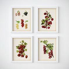 Set of 4 prints Kitchen printable set by RestoredBotanicalArt