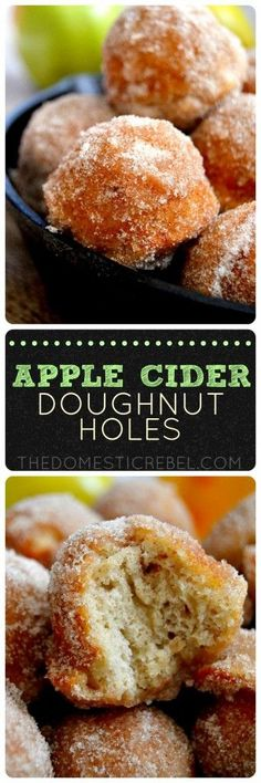 These Apple Cider Donut Holes are AMAZING! Bursting with a subtle apple flavor and sweet cinnamon sugar, they're the perfect fall breakfast - or dessert!