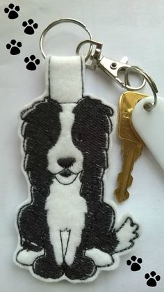 Border Collie Keyring, Border Collie Keychain, Border Collie Bag Charm, Border Collie Key Chain, Dog Key Ring, Dog Key Fob, Dog Bag Charm by MistyMakesForYou on Etsy