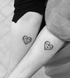 + ideas for beautiful and unique small tattoos for gir.- + ideas for beautiful and unique small tattoos for girls geometrical hearts, tattoo on the forearm, small tattoo ideas for women, his and hers tattoo - Model Tattoos, Sister Tattoos, Friend Tattoos, Mini Tattoos, Body Art Tattoos, Tatoos, Sibling Tattoos, Small Girl Tattoos, Couple Tattoos
