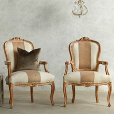 LAYLA GRACE | Eloquence One of a Kind Vintage Armchair Louis XV Burlap Stripe Set of 2 FEAV5102