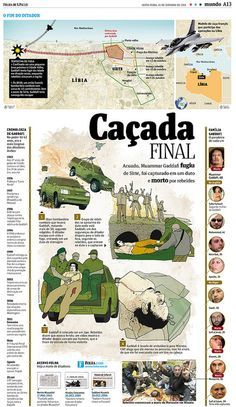 "Folha de S. Paulo ""Caçada Final"" by Danilo Bandeira, via Flickr -- interesting use of drawings to tell story of Gaddafi's death"