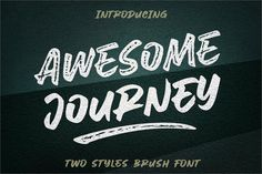 """""""Awesome Journey"""" is a two styles brush font, street-wise brush font bursting with energy. With extra attention to quick strokes and sharp details. this font Script Fonts, New Fonts, Font Logo, Fonts Gratis, Software Android, Corel X7, Comic Sans Ms, Tutorial Photoshop, Lato Font"""
