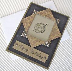 Birthday card masculine elegant stamped blank black gold leaf origami paper frame handmade stationery greeting card home and living