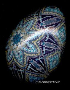 Beautiful mixed blues Pysanka Egg Art by So Jeo.
