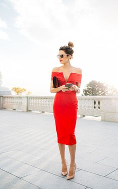 A little glamour today with this gorgeous red off-the-shoulder dress and velvet burgundy purse … looks great with a casual messy updo and nude heels | photos by Emmy Lowe of Christine @ Hello Fashion