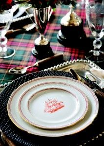Love the  plaid tablecloth, and the great place setting! PERFECT