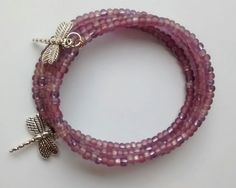 Purple Dragonfly Memory Wire Bracelet