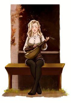 Female Elf Bard - Pathfinder PFRPG DND D&D d20 fantasy