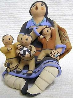 Indian Storyteller Story Teller with Three Kidss and Ball Pottery by Mary Lucero