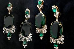 Old Czech Crystal Glass LARGE Emerald Green Rhinestone Handmade HUSAR.D Designer Signed Drop Dangle Clip Earrings, Czechoslovakia Jablonec Bridal Earrings, Clip On Earrings, Drop Earrings, Mother Of The Bride Earrings, Faceted Glass, Jewelry Gifts, Jewellery, Emerald Green, Dangles