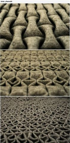 ***** Berlin-based artist 'rtmis' has created a new felt folding technique. A different profile for each side allows the combination of two different surface structures to integrate in one layer of material. It is flexible, and stable, so that it can be used for interior and furniture design or as a material in the fashion industry. Made of 100% wool. Nominated for leinemann foundation (hfbk) design award and was exhibited at museum for arts and crafts in Hamburg.