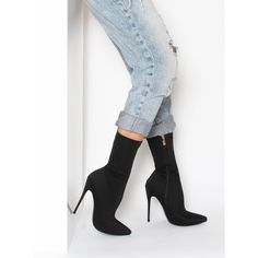 Jadah Black Lycra Pointed Toe Ankle Boots : Simmi Shoes