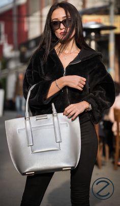 Fine, calfskin shopper bag. Shopper Bag, Fashion Accessories, Leather Jacket, Jackets, Bags, Handbags, Studded Leather Jacket, Down Jackets, Dime Bags