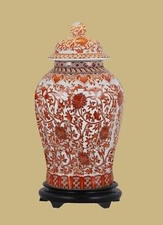 """Beautiful Orange/Coral And White Porcelain Chinoiserie Temple Jar 19"""" with Stand"""