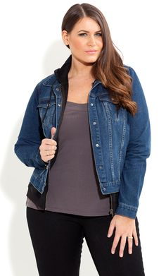 City Chic - DENIM HOODIE JACKET - Women's plus size fashion