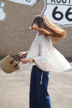 Flowy tops and denim