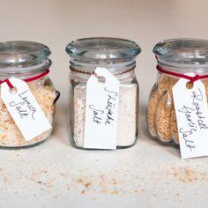 DIY lemon, shiitake (umami!), and roasted garlic salt for edible gifting