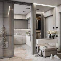Este posibil ca imaginea să conţină: interior Luxury Bedroom Design, Interior Design Living Room, Living Room Decor, Bedroom Decor, Hallway Designs, Closet Designs, Corridor Design, Deco Design, Luxurious Bedrooms