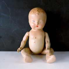 """Vintage / Antique Composition Baby Doll with Molded Hair and Jointed Arms and Legs, 10"""" (c.1920s) N2"""