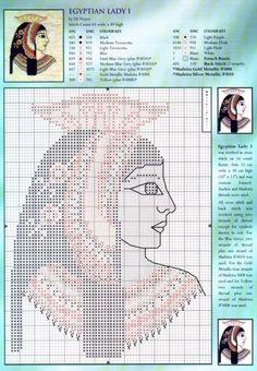0 point de croix femme egyptienne - cross stitch egyptian lady 1