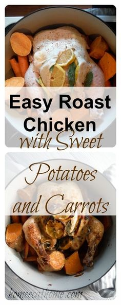 Super busy?  Try this easy roast chicken with sweet potatoes and carrots.  Your family will love it!