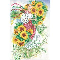 Канва с рисунком для бисера Украиночка Т-0368 #beads #beadwork #embroidery #mimistitch