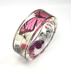 Pink Bracelet, Pink, Purple Butterflies in a Resin Bangle, Botanical Jewelry