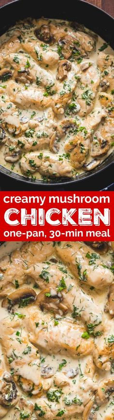 Creamy Herb Mushroom Chicken is a crowd pleasing, one-pan 30-minute chicken dinner. Every bite is so juicy and tender. This chicken and mushrooms recipe is unbelievably easy and is sure to become a new favorite! | natashaskitchen.com